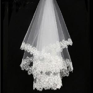 2021 New Arrival White 1.5m Lace Applique Edge Bridal Wedding Veils Bride Veils Wedding Accessory On Sale