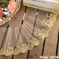 14cm wide tulle white mesh gold embroidery lace fabirc collar trim fringe ribbon wedding curtains sofa diy apparel sewing decor