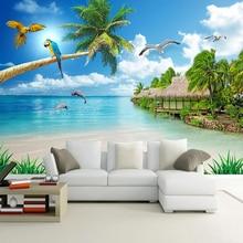 Personalizado papel pintado con foto 3D cielo azul nubes blancas arena playa paisaje marino Gran Mural Fresco Sala pared del dormitorio decoración pintura