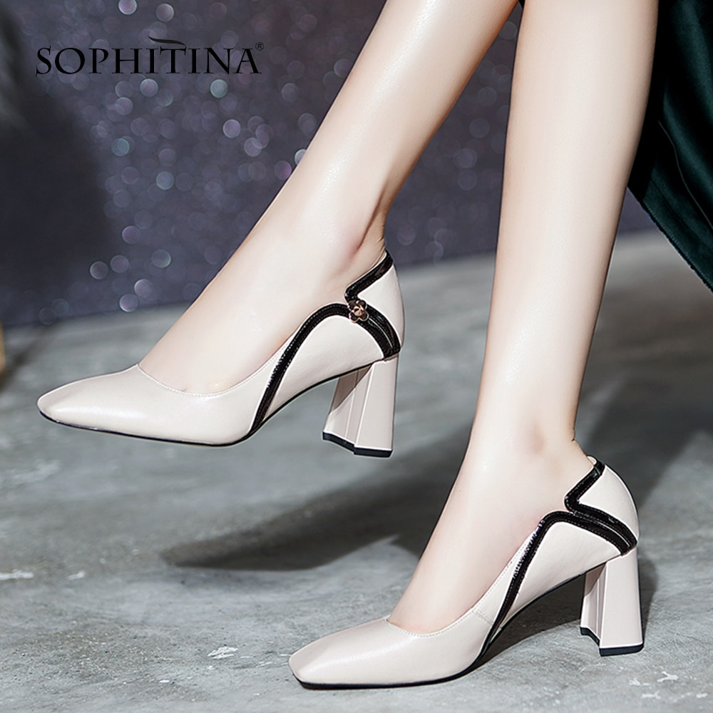 aikelinyu classics pump square heel women s pumps genuine leather purple sexy office lady shoes hollowing out women wedding shoe SOPHITINA Square Toe Pumps Women Classics Generous Zipper Concise Thick Heels Pumps Office Casual Cow Leather Shoes Women SO496