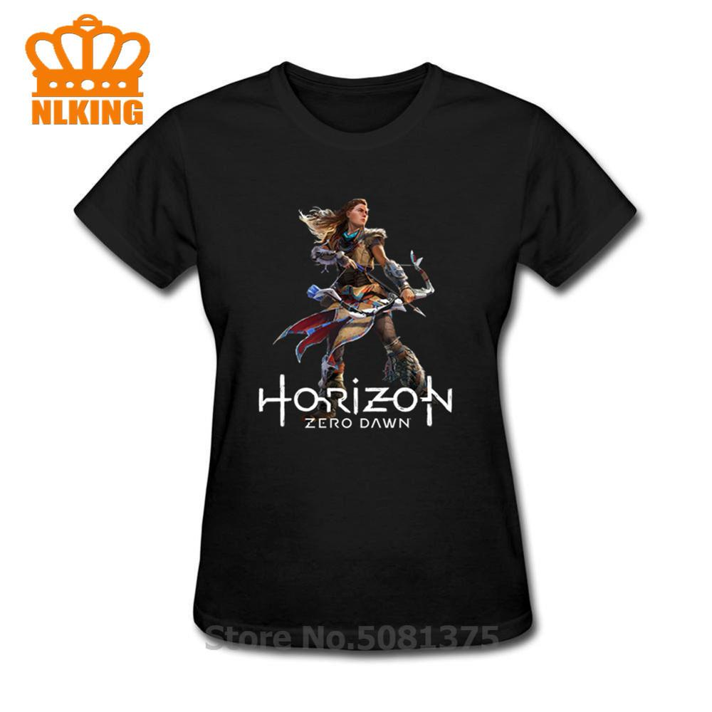 Camiseta Horizon Zero Dawn divertida 100% algodón negro camiseta suelta de manga corta nueva camiseta femenina imprimir camiseta de verano 2019