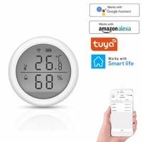 Tuya     capteur WIFI de temperature et dhumidite dinterieur  hygrometre  thermometre avec ecran LCD  compatible avec Alexa Google Home Assistant