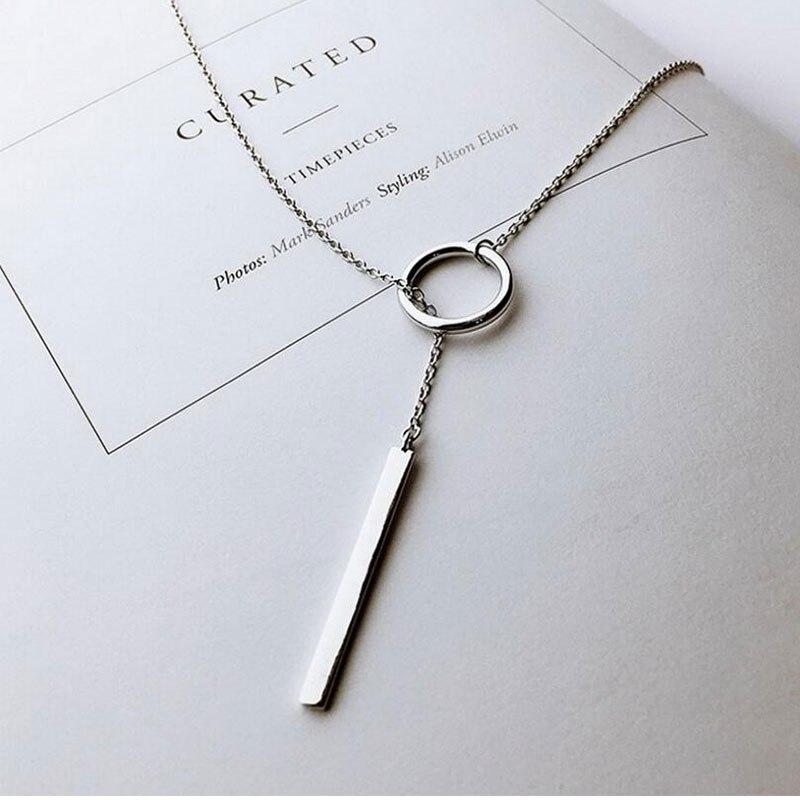 Delicado minimalista Simple stick círculo con barra collar largo Karma círculo tira cadena joyería regalo