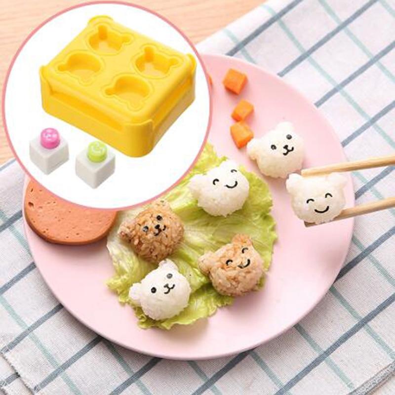 Mini Oso de dibujos animados molde bola arroz Diy Cute cocina Sushi repujado creativo almuerzo herramientas de hornear accesorios de cocina