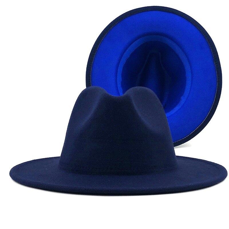 Wide Hat Navy Patchwork Fedora Hats Women Winter Fashion Felt Panama Jazz Hat Ladies Trilby Gambler