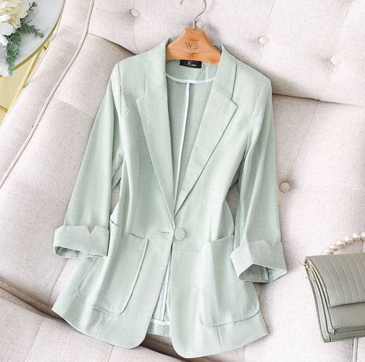 Cotton and Linen Green Suit Jacket New Women's Autumn and Winter Small Short Casual Large Size Women