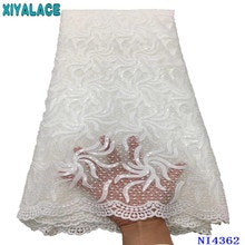 High Quality African Sequins Lace Fabric Newest French Net Embroidered Tulle Laces Fabric Dresses fo