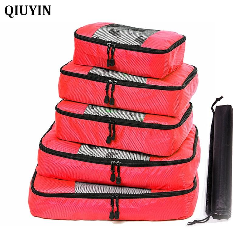 5 unids/set De cubos De nailon para embalaje Bolsa De Viaje organizador De gran capacidad bolsas De Viaje equipaje De mano Bolsa De Viaje