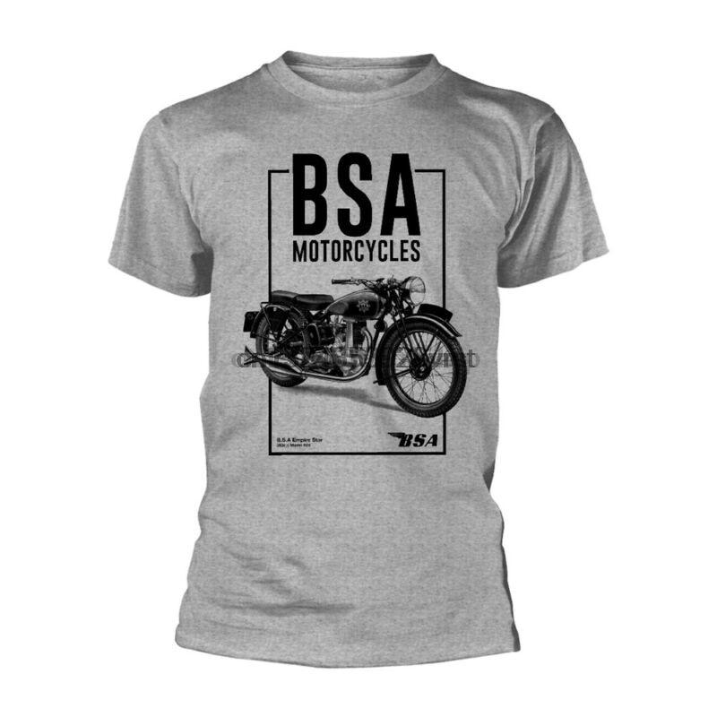 Licença oficial bsa motocicletas cinza camiseta caixa alta logotipo preto bicicletas britânicas