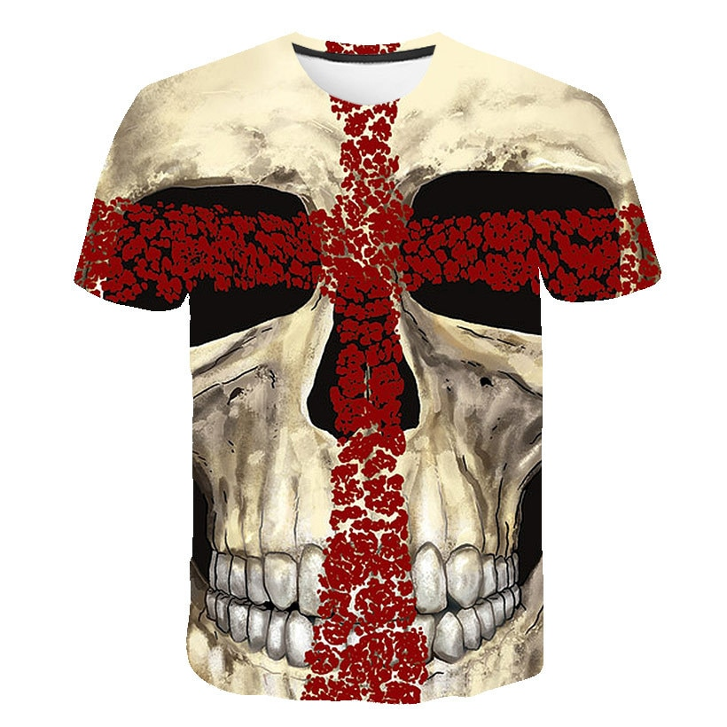 Skull Print T-Shirt Short-Sleeved New Hip Hop 3D Digital Printing Funny Summer Men's Round Neck Short-Sleeved T-Shirt 2021 trend digital printing short sleeved t shirt