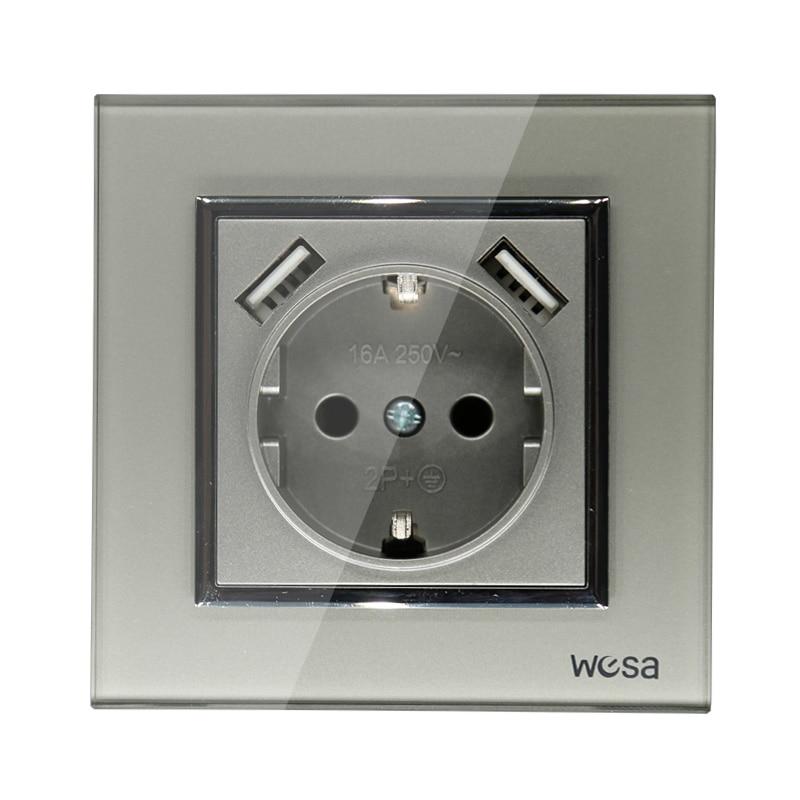 2019 nuevo diseño doble USB decorativo enchufe de pared 5V 2A gris Marco de vidrio templado FB-19
