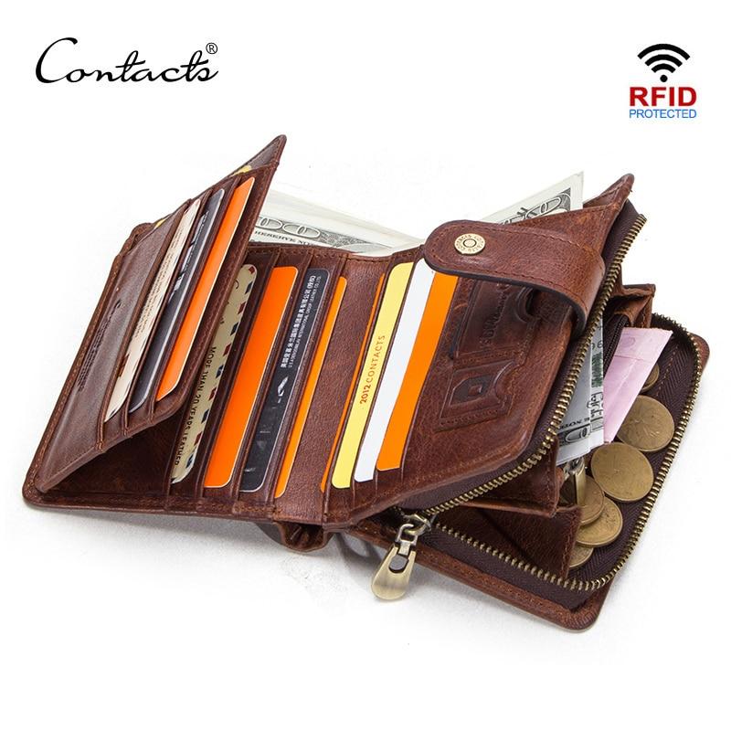 Cartera vintage de piel auténtica de Contact para hombre con bolsillo para monedas, cartera pequeña con cremallera, cartera con tarjetero para hombre