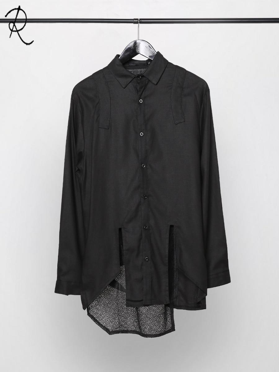 2020 new spring wear original design personality irregular cut stitching slim shirt men long sleeves