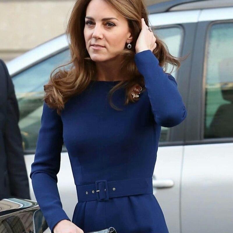 Kate Middleton cinturón de manga larga Delgado temperamento azul banquete elegante vestido 2020 primavera nuevo diseñador de alta calidad de las mujeres