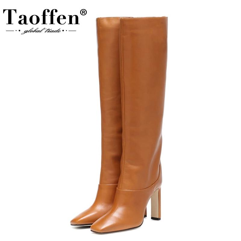 Taoffen حجم 34-43 حذاء برقبة للركبة النساء تصميم جديد الفراء الدافئة الشتاء أحذية النساء موضة أحذية عالية الكعب امرأة الأحذية