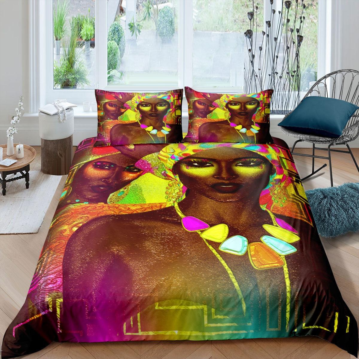 طقم سرير امرأة الأفريقية الملكة حجم الفاخرة حاف الغطاء و المخدة مجموعة غطاء لحاف طقم سرير المنسوجات المنزلية الملك