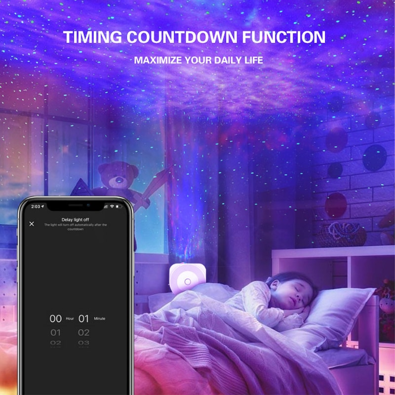 Led Galaxy projector luminous music player remote control star rotation luminous children bedroom lamp gift interior decoration enlarge