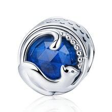PANDACH 100% 925 argent Sterling jouant chaton chat bleu CZ perles breloque fit Bracelet à breloques et bracelets bijoux à bricoler soi-même faisant C708