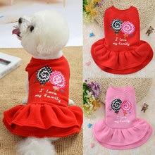 Mignon chien robe chien vêtements pour petits chiens mode rose rouge chien jupe mignon sans manches princesse robe chiot animal chat coton Costume