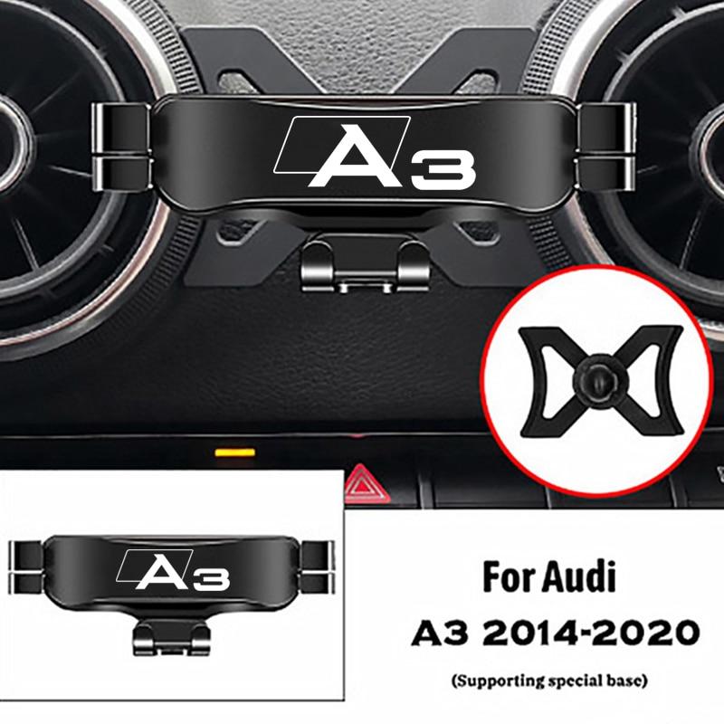 For Audi A3 S3 8V 2014-2020 Air Outlet Clip Mounts Stand GPS Gravity Navigation Bracket Car Accessor