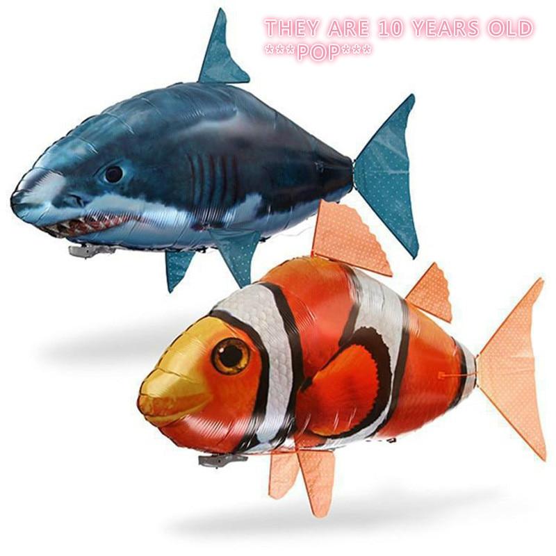 Controle remoto voando tubarão brinquedo palhaço nemo peixes balões inflável hélio rc avião de ar ufo flash led avião golfinho animal