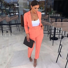 Pink Casual Women Suits Office Sets Orange Suit Women 2021 Crop Top And Pant Suits For Women Blazer
