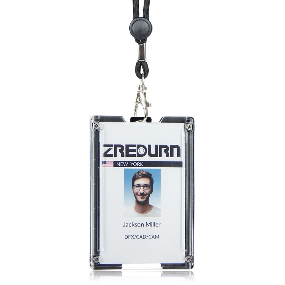 Tarjetero zayex con porta tarjetas de identificación duradero con Clip de cordón para oficinas, escuela, licencia de conducir, soporta 1-4 tarjetas