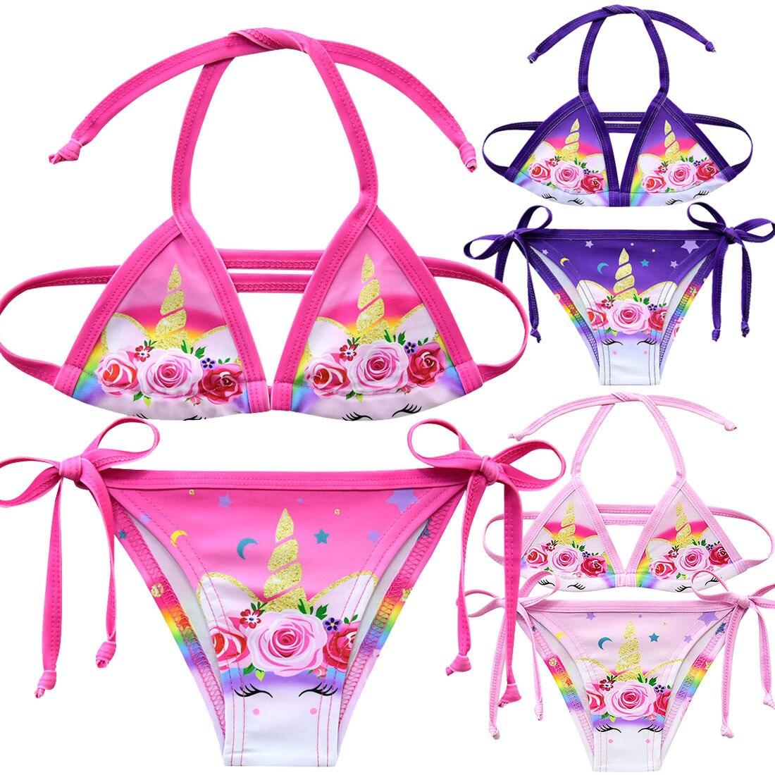 Traje de baño de 2 piezas para niñas, Bikini de dibujos animados de unicornio, traje de baño para niñas, Tankini, trajes de baño para niñas, Biquini