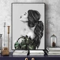 Sexy mode fille cote toile peinture plante noir et blanc Art affiches et impressions decoration de la maison fille chambre sans cadre murale
