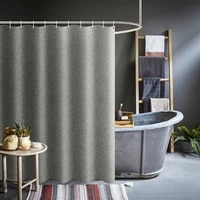 Rideaux de douche gris epais Imitation lin tissu rideaux de bain impermeables pour salle de bain baignoire grande Large couverture de bain moderne
