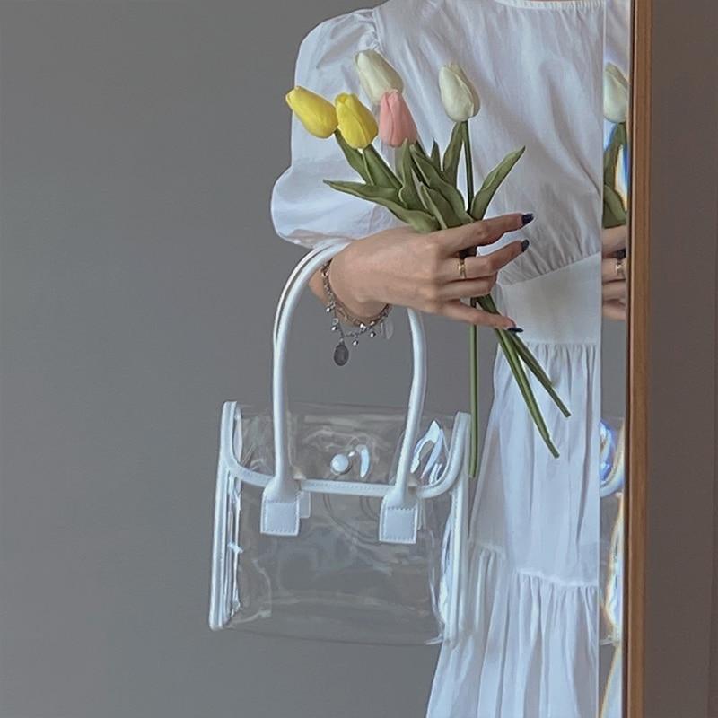 Coreano verão novo simples pvc transparente feminino saco único-ombro fresco bolsa praia férias estilo a165