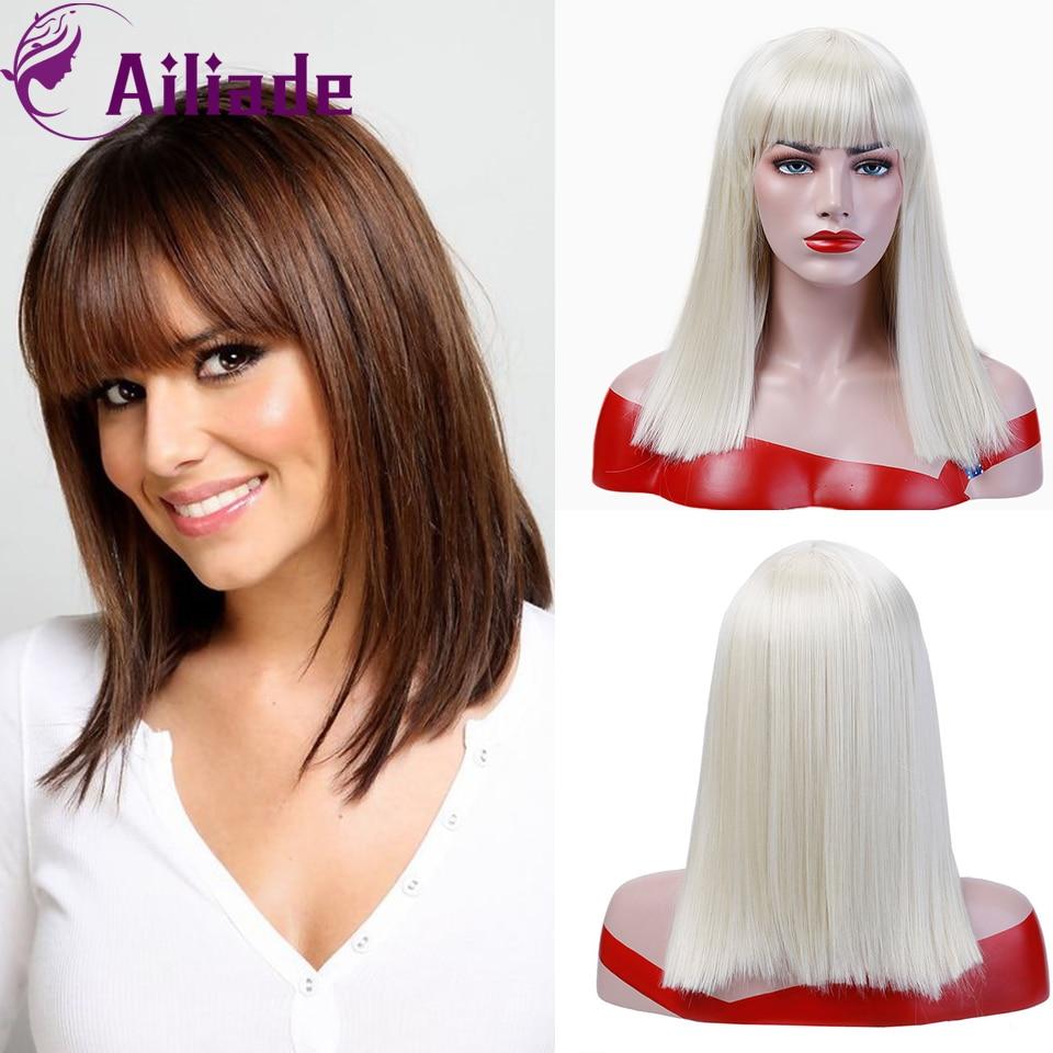 AILIADE 2020 pelucas sintéticas largas y rectas con flequillo cabello falso Natural Ombre rojo rosa azul para mujeres diario/Cosplay/fiesta