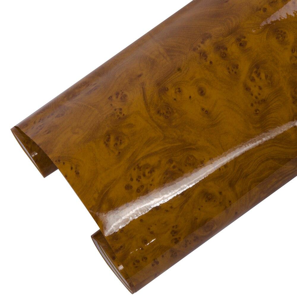 Sunice, película de vinilo de alto brillo, vetas de madera, muebles de decoración para coche, película para interiores para decoración de hogar y oficina, pegatina de pared 1,24x0,3 m