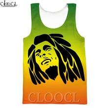 CLOOCL Singer Bob Marley camisetas sin mangas hombres mujeres 3D impreso nueva moda Chaleco de verano ropa de calle Tops informales