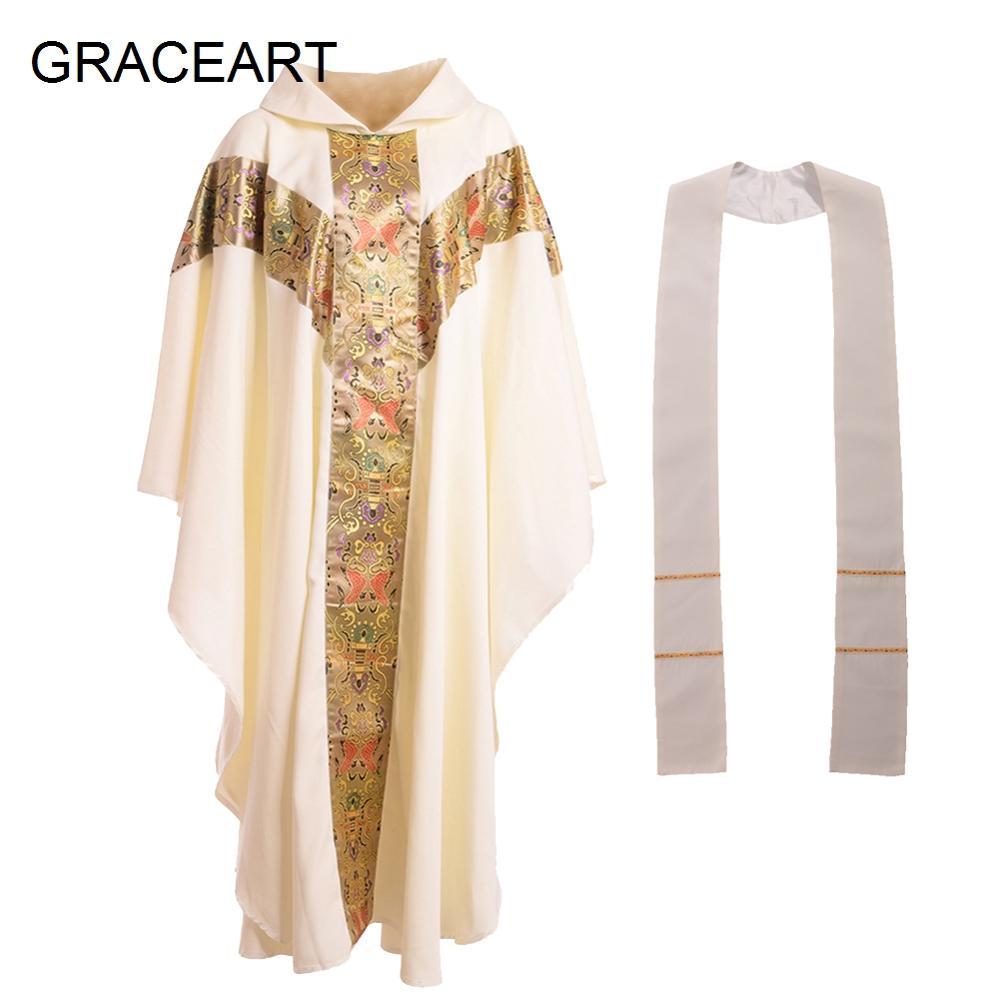 Priest Costume Pope Catholic Men Church Clergy Fathers Chasuble Catholic Vestments Cope Robe