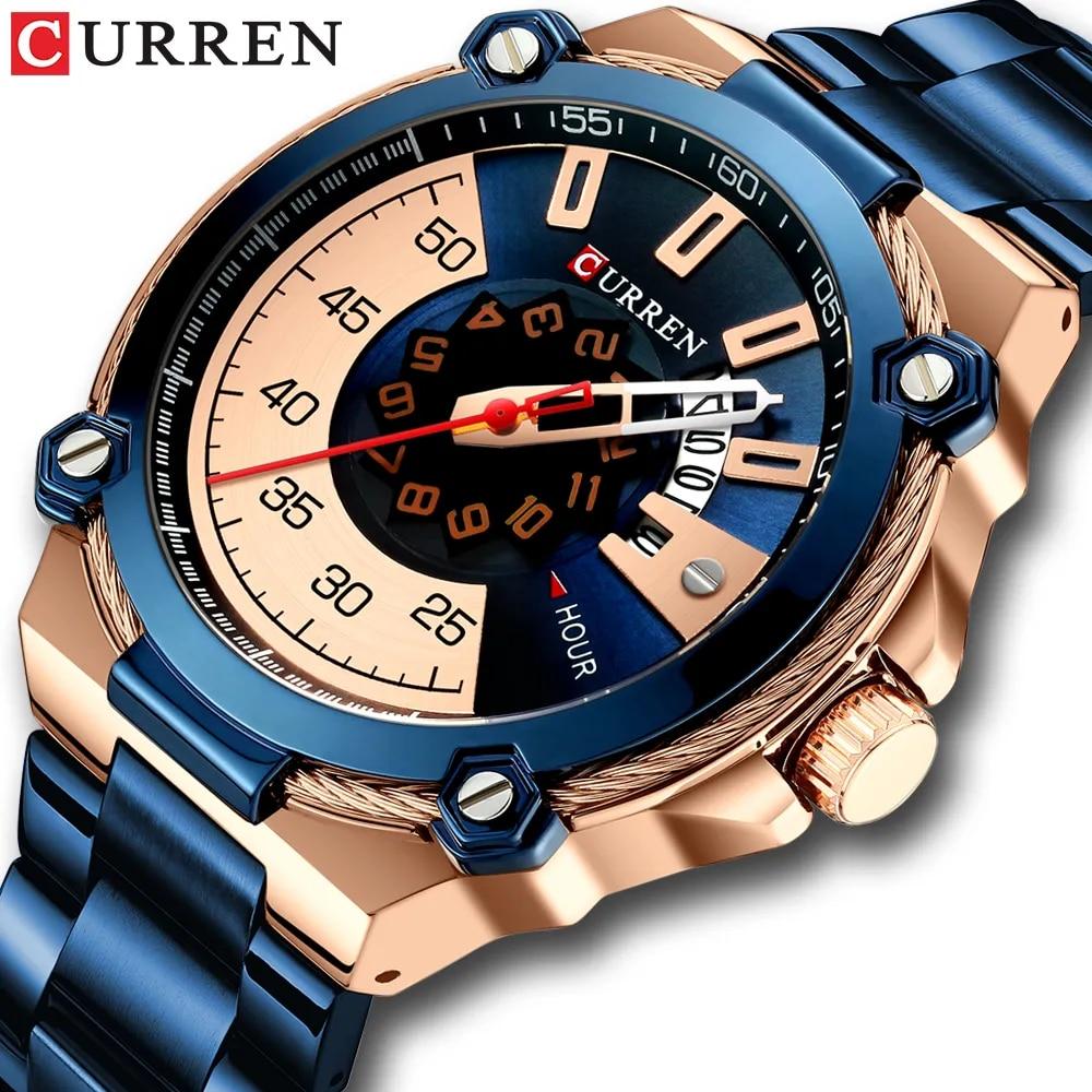 CURREN – montre-bracelet à Quartz pour hommes, mode créative, Reloj Hombre, boîtier en acier inoxydable bleu doré, étanche, 2019