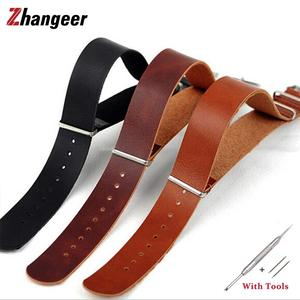 18mm 20mm 22mm 24mm Genuine Leather Thin Soft Watch Band NATO Leather Straps ZULU Strap Clock Watches Accessories For Men Women