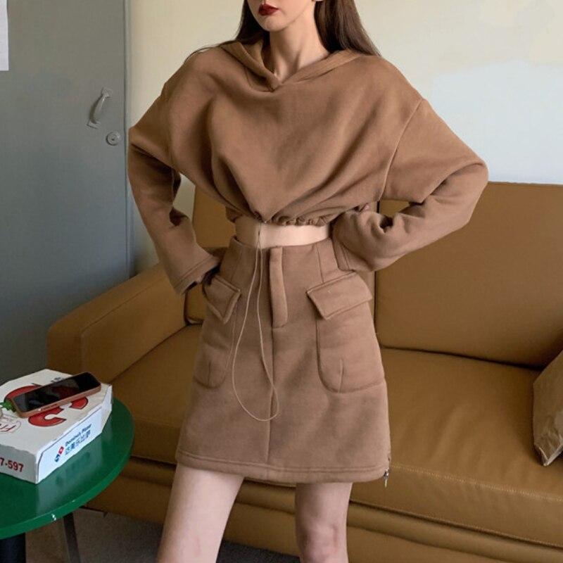 Women's Hooded Sets Fleece Jacket Bust Skirt Outfits Autumn Winter Lady Solid Sweatshirt+Sweatskirts Slim Pullover Fashion