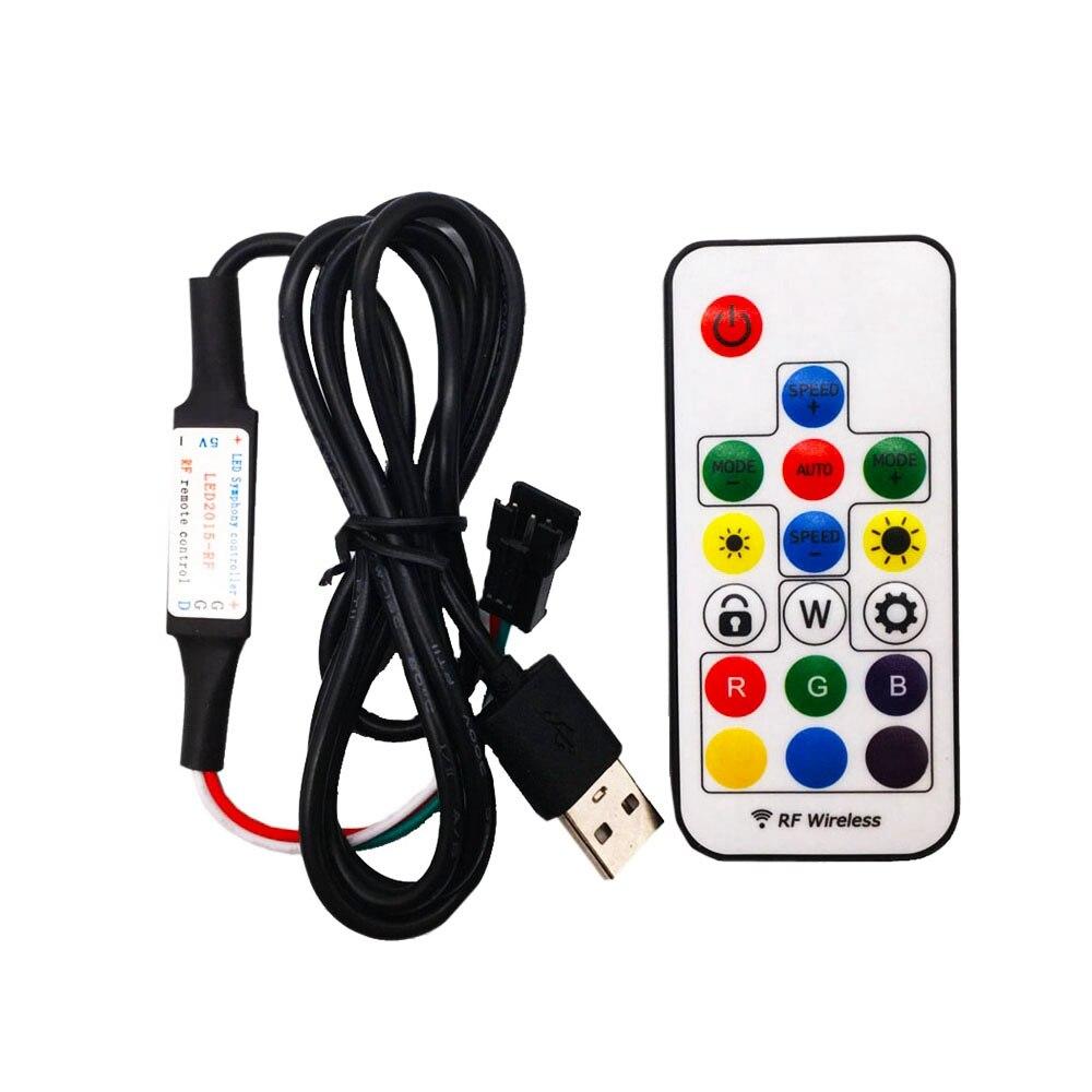 Mando a distancia Led 5V 17 teclas RF RGB con controlador Led inalámbrico USB para tira de luces Led WS2812B SK6812 RGB Magic Color