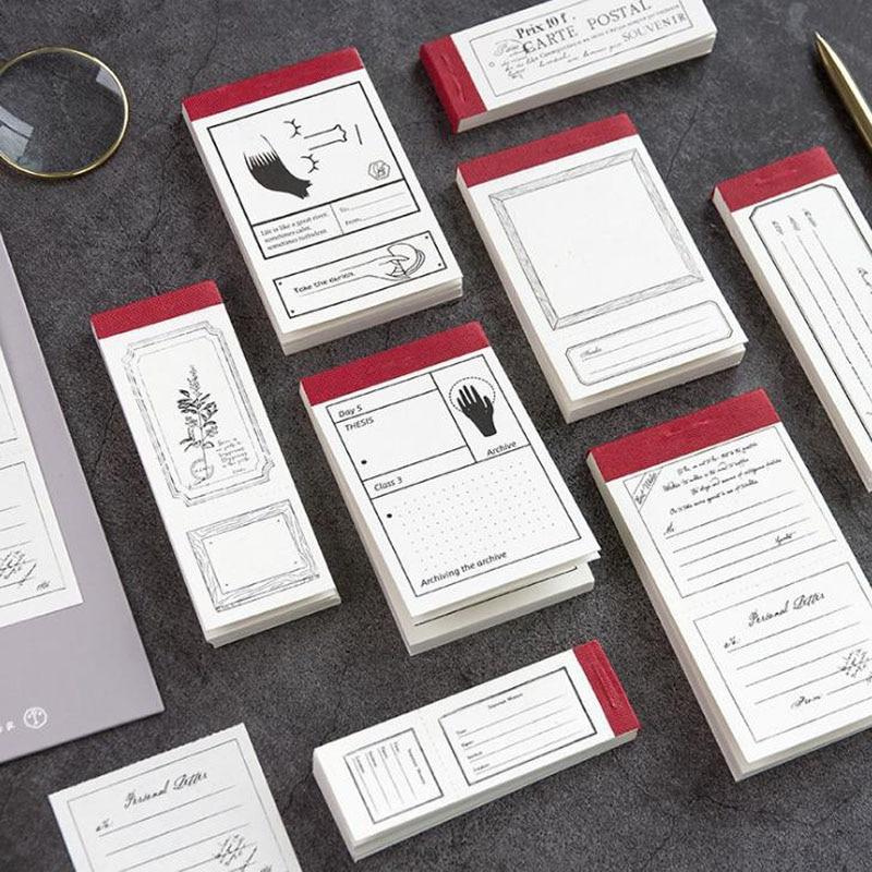 1 pçs bonito 50 folhas notebook retro minimalismo mensagem bloco de notas almofadas de memorando pintura decorativa diy adesivo papelaria
