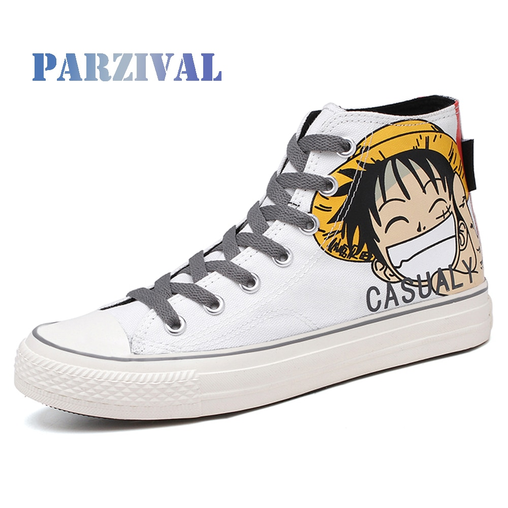 PARZIVAL Men High top Sapatas de Lona Graffiti Anime Monkey D. Luffy Sapatos Casuais Um Pedaço de Tênis Homens Jovens Sapatas Vulcanize