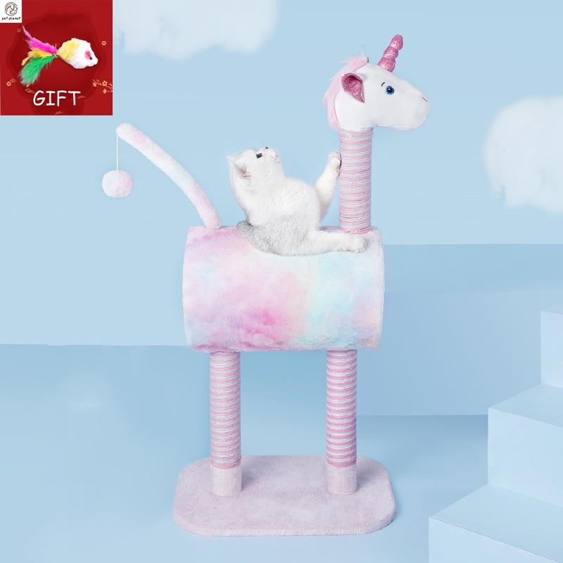 Corda gato árvore gato quadro de escalada girafa arranhando pós bola brinquedo pet kat jogar torre condomínio gato luxo móveis