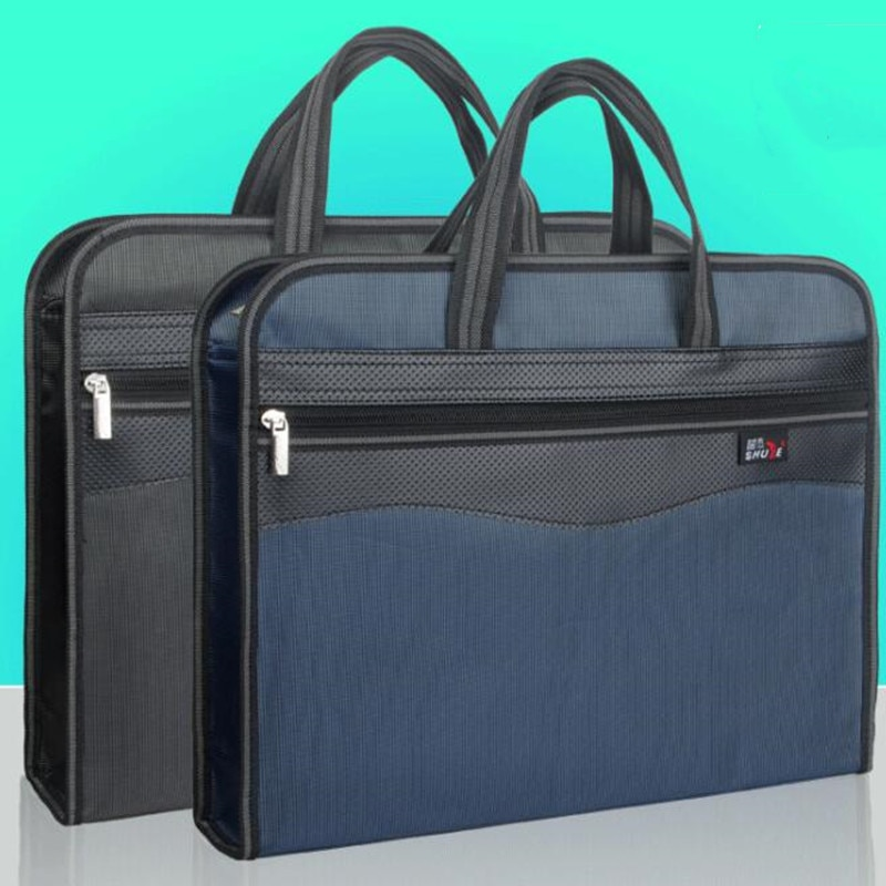 A4 File Bag Hand-in-Buff Large Folder Pack Canvas Meeting Briefcase Document Ticket Storage Waterproof Organizer Filing Products