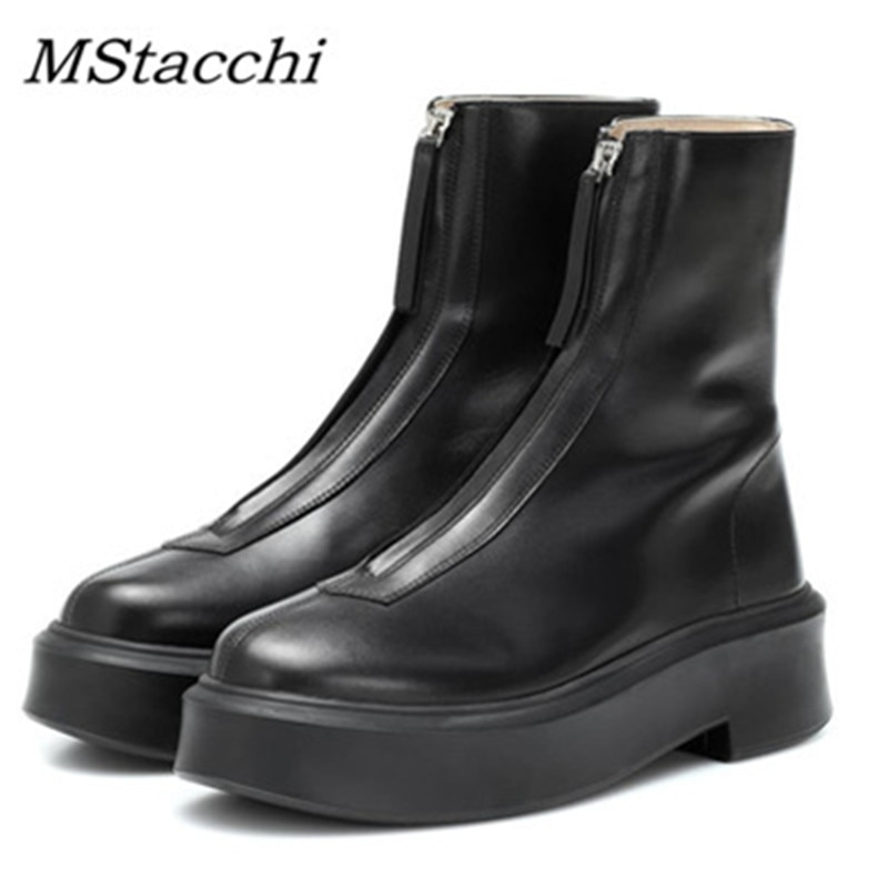 Mstafchi الأسود الشرير الانزلاق على منصة المنصة جورب حذاء من الجلد للنساء جلد طبيعي موضة الجبهة زيبر أحذية Buty Damskie