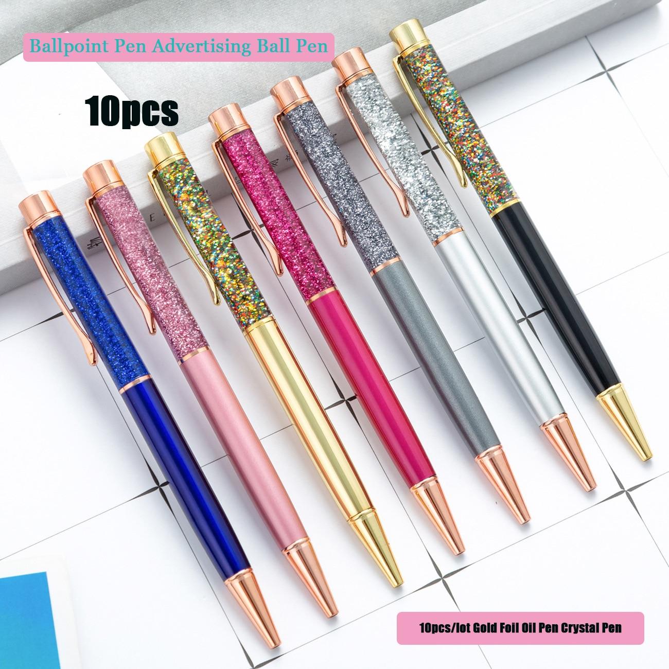 10 шт./лот масляная ручка из золотой фольги, ручка с кристаллами, металлическая ручка для подписи, роскошная шариковая ручка, рекламная Шарик...