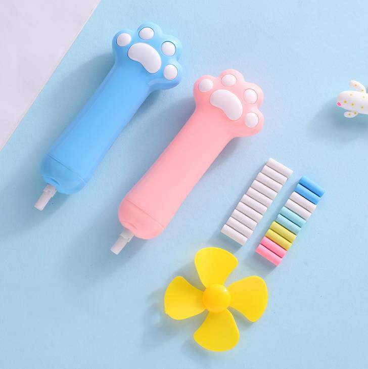 1 Set Kawaii Candy Color Cat Paw Shape Electric Erasers with Refill Fan Pencil Rubber Erasers Painting Drawing Stationery 3pcs set cat paw erasers kawaii stationery pencil cap erasers for kids correction tools pen topper eraser set school supplies