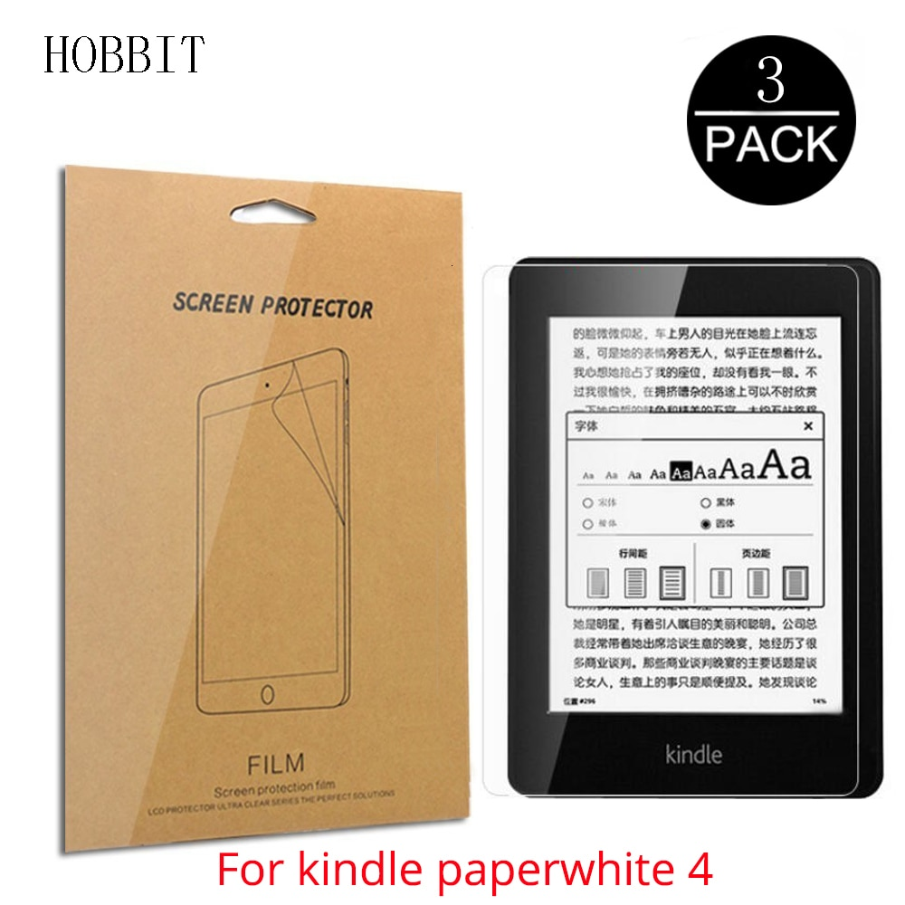 Filme claro do protetor do lcd de 3 pacotes para amazon kindle paperwhite4 ereader tablet handheld paperwhite 4 anti-risco protetor de tela hd