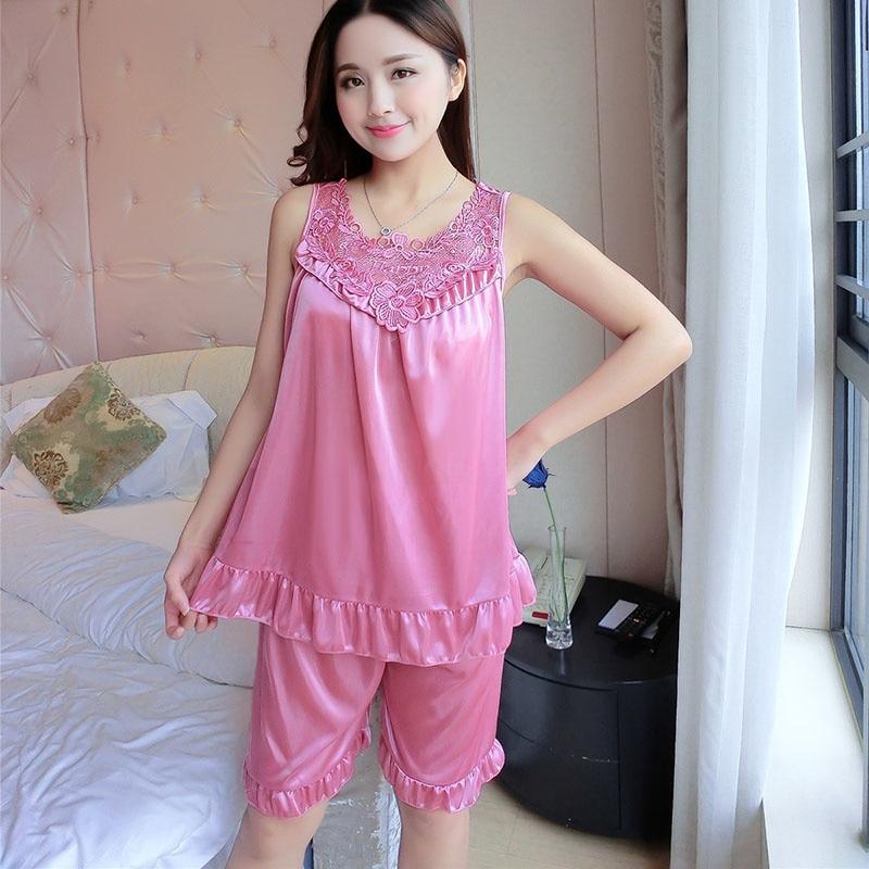 Embroidery Ice Silk Satin Pajamas for Women Sexy Set with Shorts Plus Size Sleepwear Female #30