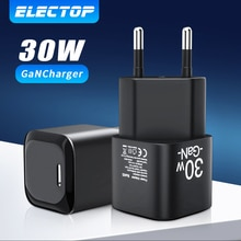 Electop GaN Charger 30W USB Type C PD Fast Charge Cable USB C Phone Charger For MacBook Laptop iPhon