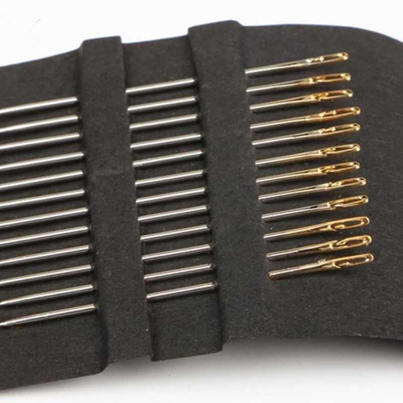 Caliente 12 unids/lote agujas de zurcir de acero inoxidable aguja ciega de varios tamaños Popular abertura lateral DIY aguja de coser de alta calidad